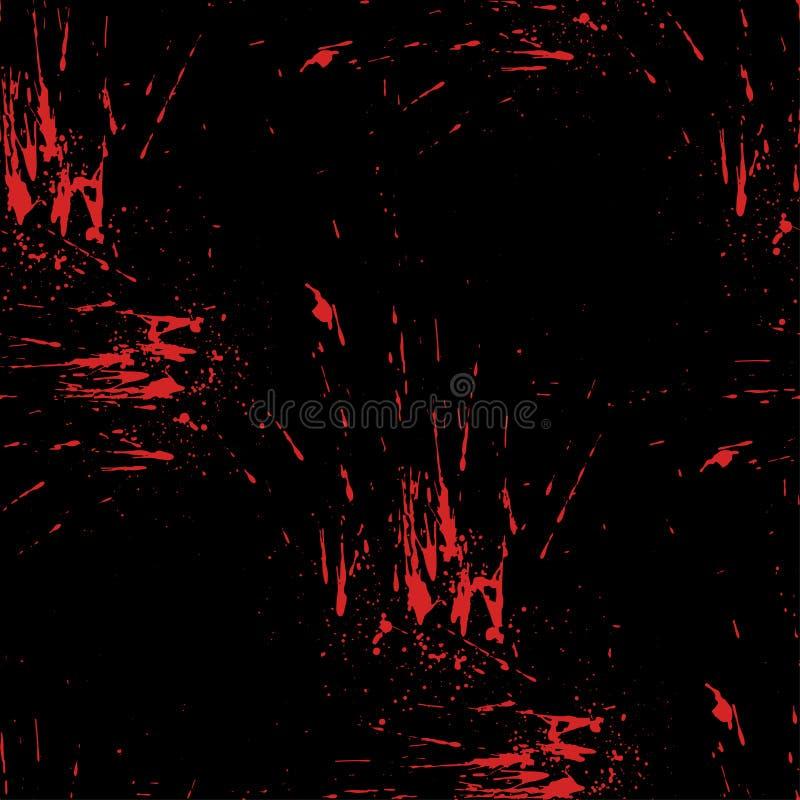 Chapoteo rojo brillante en fondo negro El vector borra y salpica Diversas gotas de sangre Diseño asustadizo de víspera de Todos l libre illustration