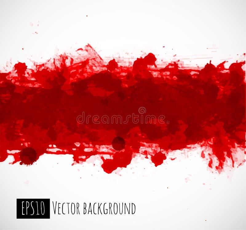 Chapoteo rojo brillante grande del grunge de la sangre en el fondo blanco ilustración del vector
