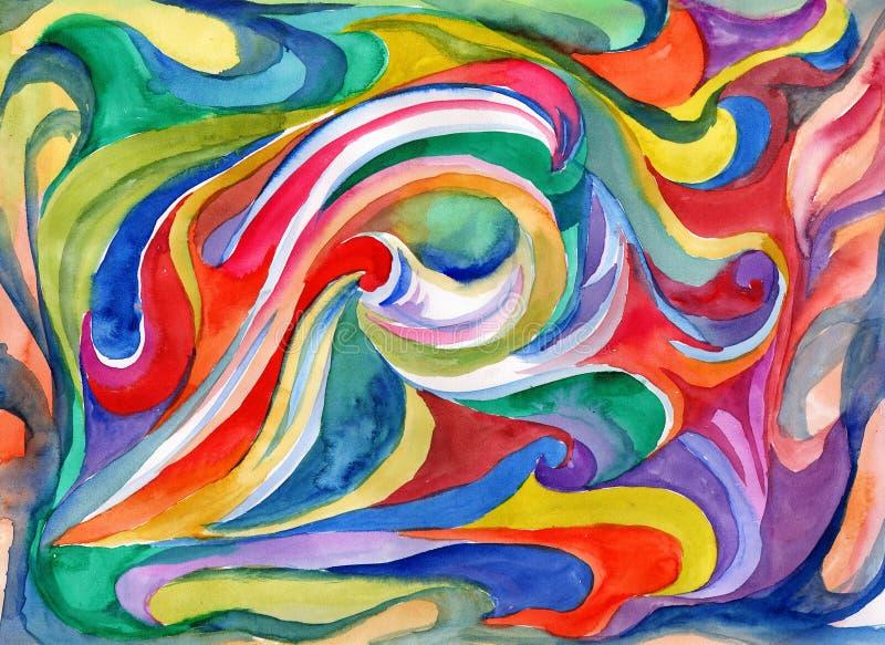 Chapoteo rojo de la abstracción exhausta de la acuarela de la mano y azul brillante stock de ilustración