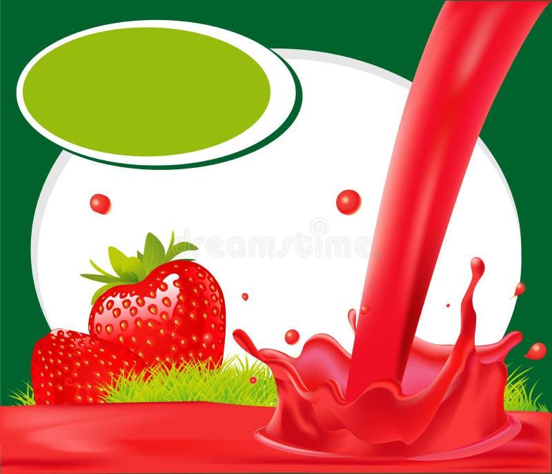 Chapoteo rojo del jugo de la fresa en el marco verde - vector stock de ilustración