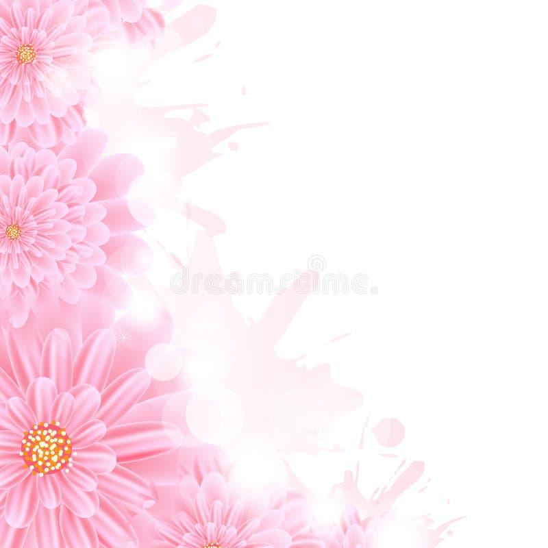 Chapoteo rosado de Gerber y de la pintura stock de ilustración