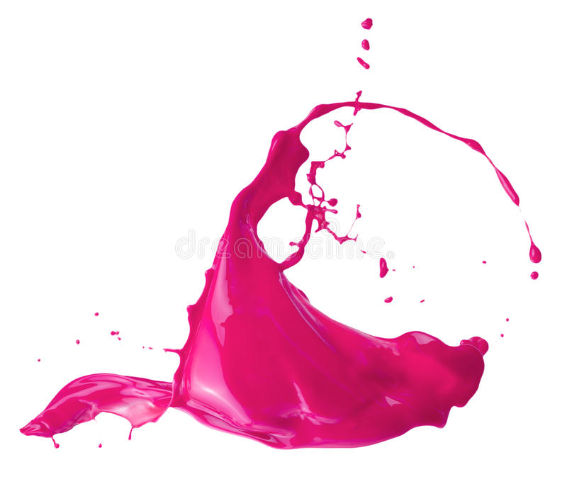 Chapoteo rosado de la pintura aislado en un fondo blanco fotografía de archivo