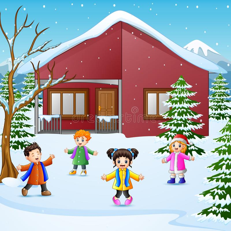 CHappy kid playing in the snowing village stock illustration
