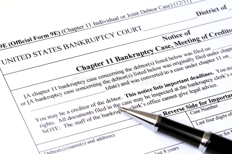 Download Chapter 11 Bankruptcy Application Stock Photo - Image: 22757204