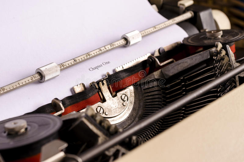 Chapter one. Still life with typewriter. Beginning a new book. blogging, text, writing royalty free stock image