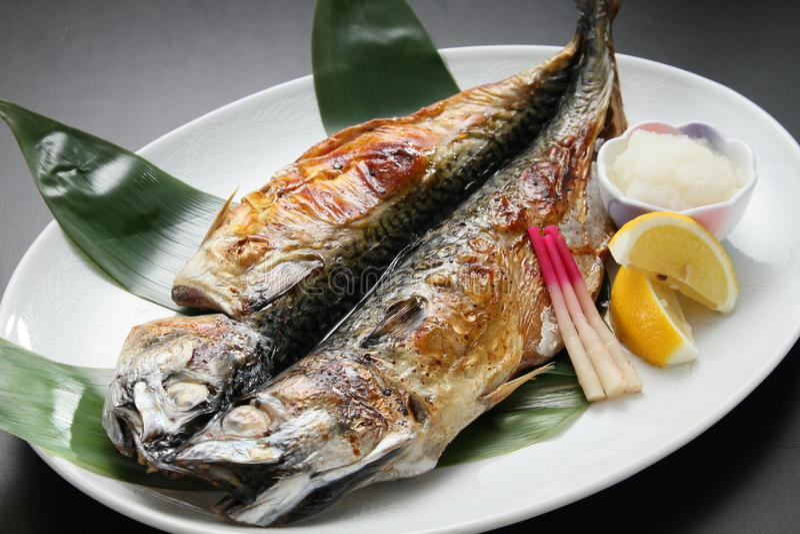 Chapter of Rokkai best fried mackerel cuisine festival on white royalty free stock photo