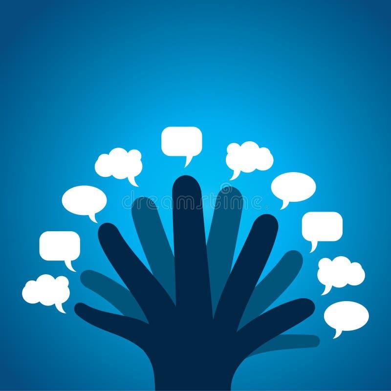 Chaque bulle différente de message d'exposition de doigt illustration de vecteur