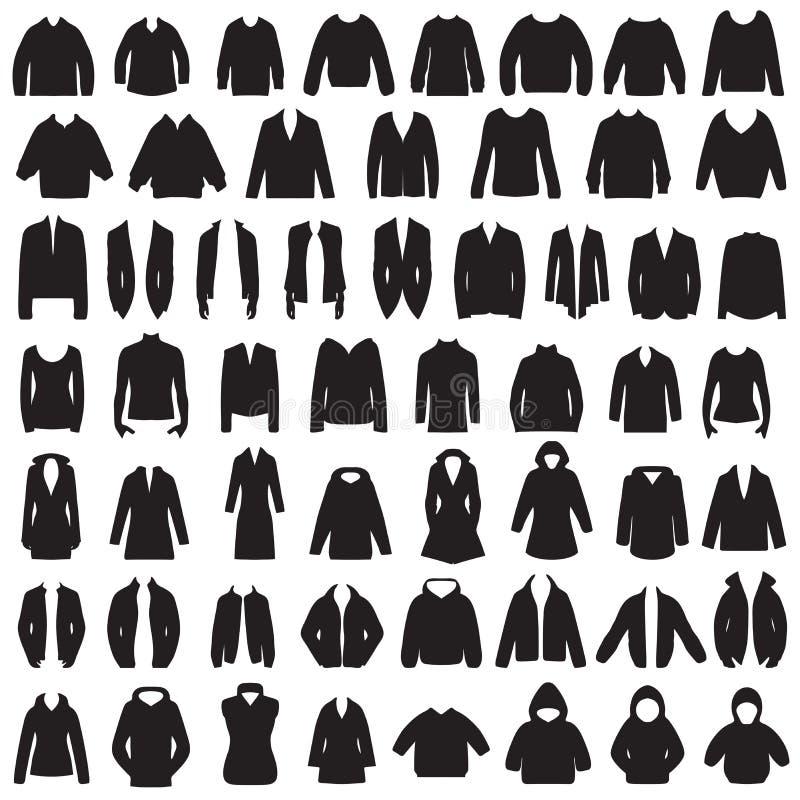 Chaqueta, capa, suéter, blusa y traje aislados stock de ilustración