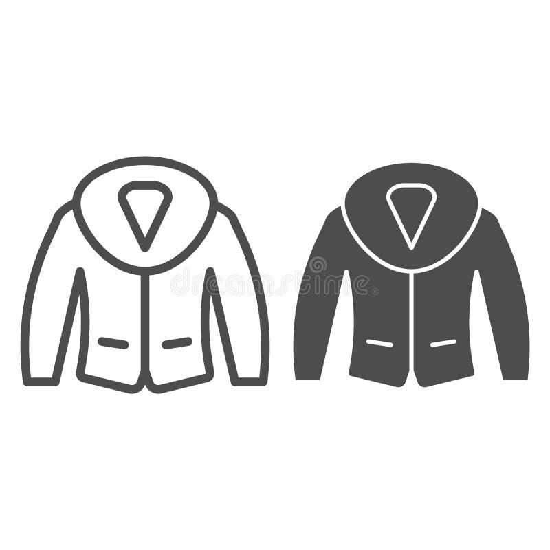 Chaqueta con la línea de la piel y el icono del glyph Ejemplo del vector de la ropa del invierno aislado en blanco Estilo del esq ilustración del vector