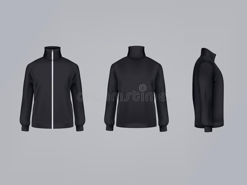 Chaqueta de deporte o modelo largo de la maqueta del ejemplo 3D del vector de la camiseta de la manga del icono de la ropa de la  ilustración del vector