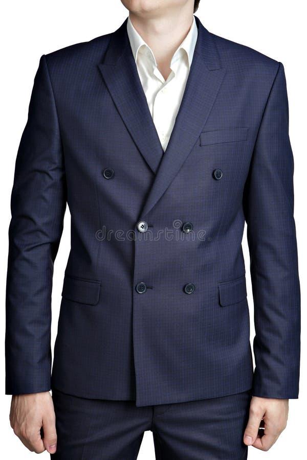 Chaqueta para hombre cruzada del traje con pequeño a cuadros azul marino imagen de archivo