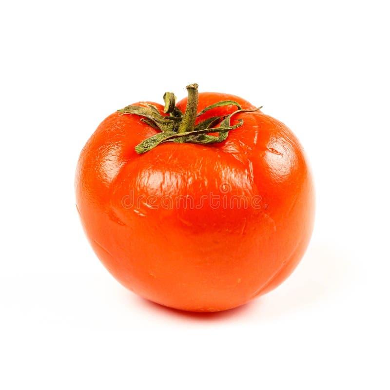 Charłaczy czerwony pomidor z bliska pojedynczy białe tło obrazy royalty free