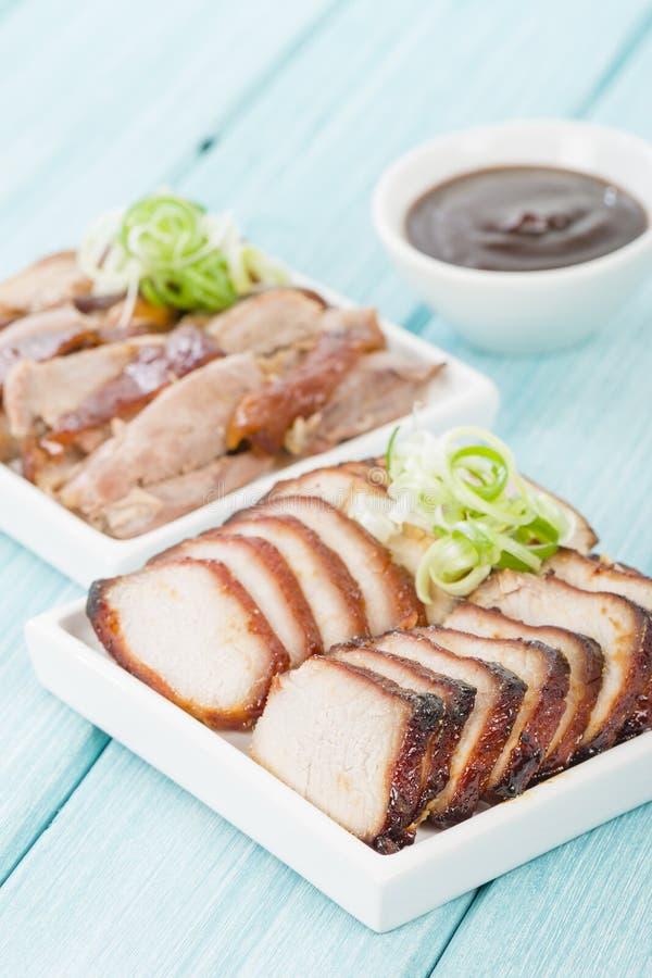 Char Siu Pork et canard de Pékin images libres de droits
