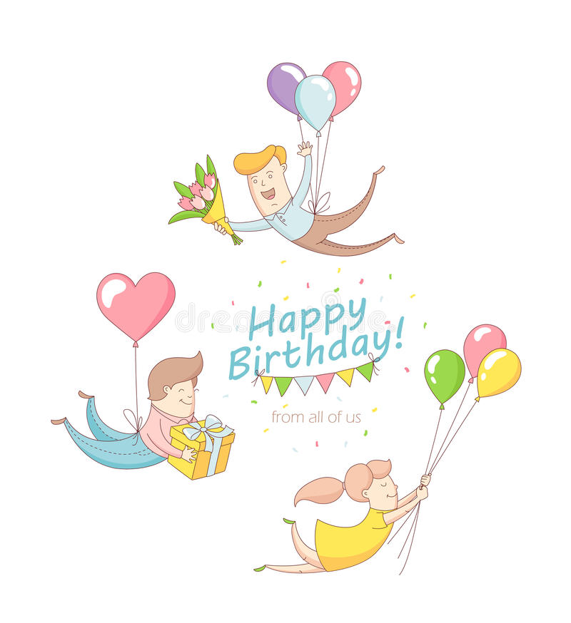 Chara divertido de la gente de la invitación de la tarjeta de felicitación del partido del feliz cumpleaños ilustración del vector