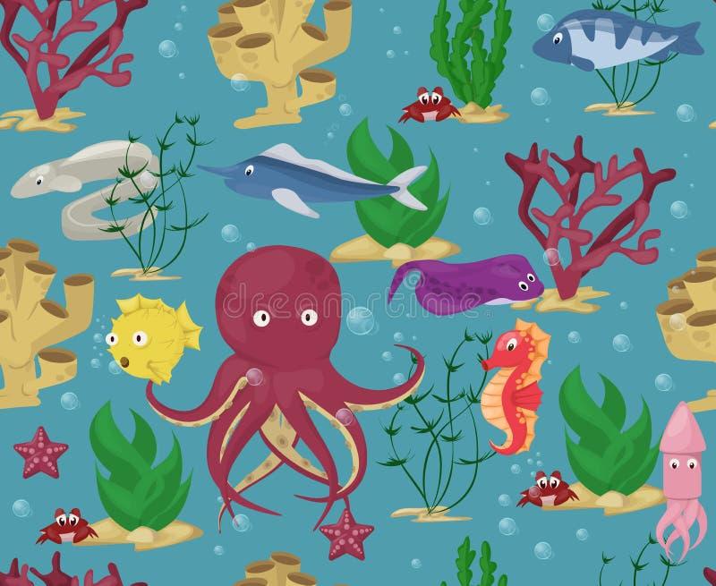 Characte aquatique marin de modèle d'animaux de mer de fond de vecteur de plantes aquatiques d'océan de poissons de bande dessiné illustration libre de droits