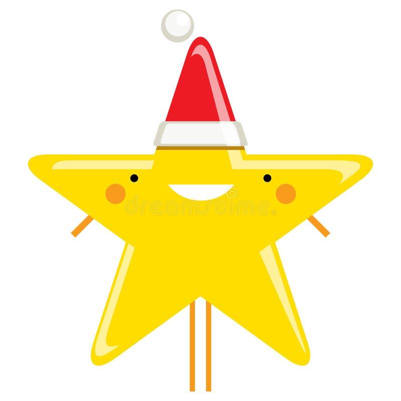 Characte de sourire de Santa Claus d'étoile de Noël de bande dessinée simple heureuse illustration libre de droits