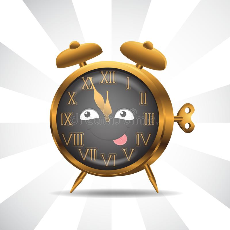 Character alarm clock gold on isolated background. Vector image. Cartoon. EPS 10 royalty free illustration