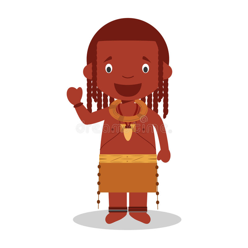 Character from Angola Himba Tribe dressed in the traditional way. Vector Illustration. Kids of the World Collection vector illustration