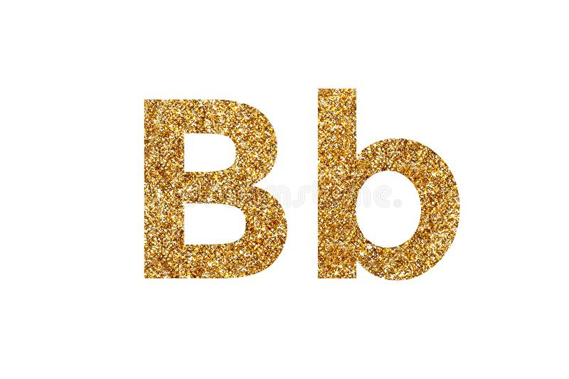 Character B.  English alphabet. Isolated on white background. Character B. Letters and Numbers from golden grains of sand. English alphabet. Isolated on white royalty free stock photography