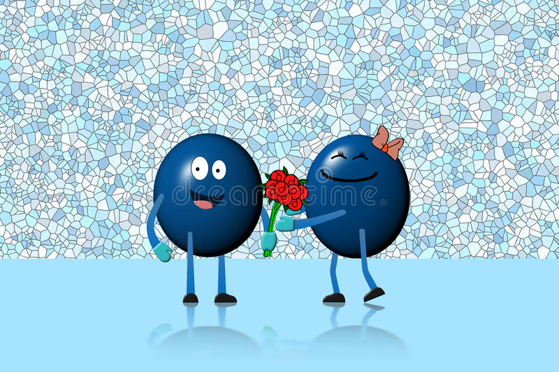 Character ball man giving flowers bouquet to character woman stock illustration