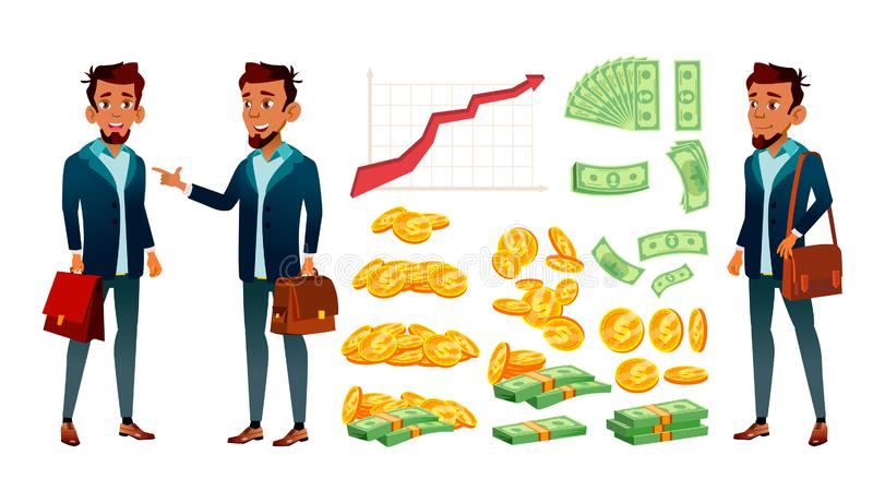 Character Banker And Grow Currency Graphic Vector. Young Businessman Banker In Suit With Case, Red Arrow, Golden Coin And Dollar Banknote Money. Financial royalty free illustration