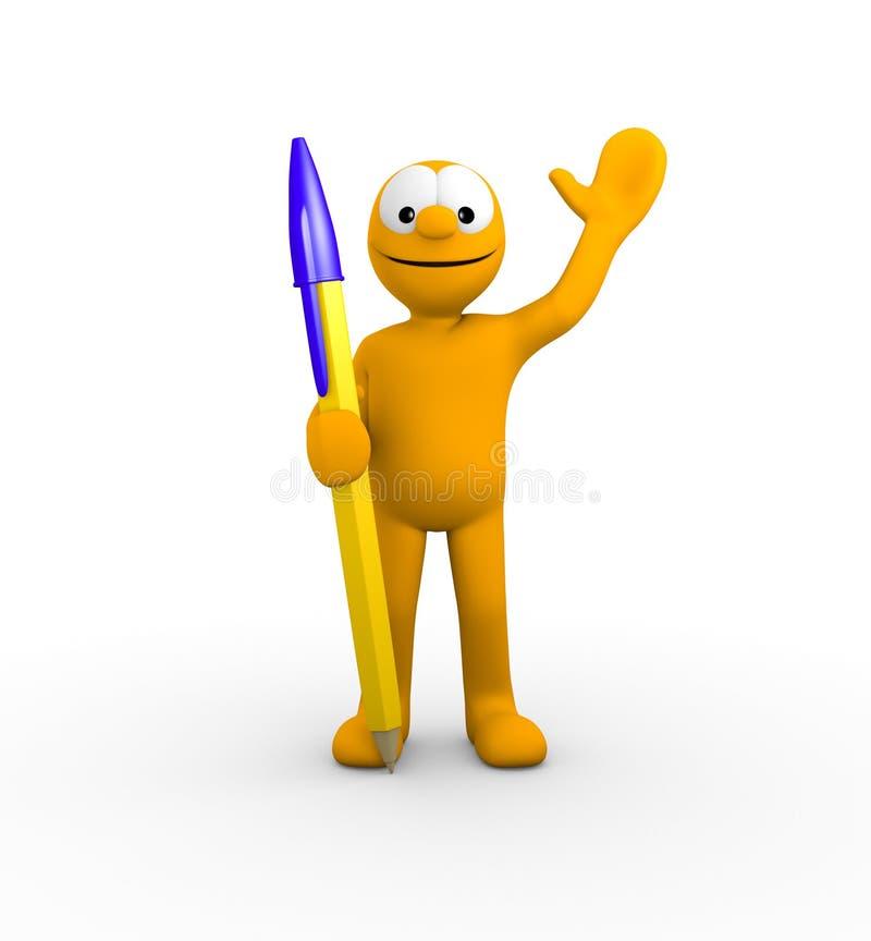 Download Character with big pen stock illustration. Illustration of orange - 27329491
