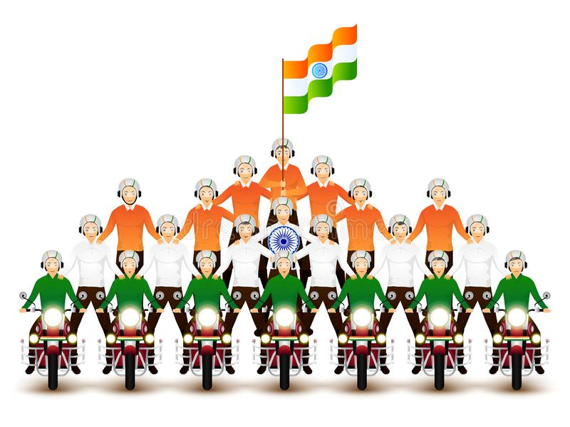 Character of bike riders performing stunts on the occasion. Character of bike riders performing stunts on the occasion of Indian national holiday vector illustration