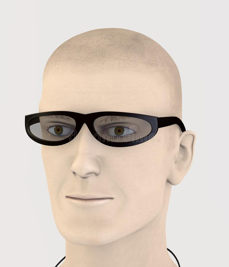 Character with black plastic glasses royalty free illustration