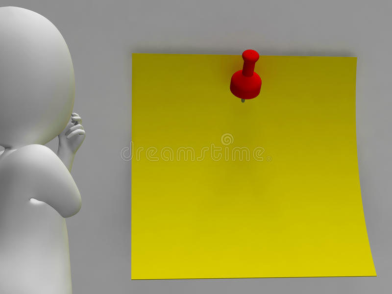 Character And Blank Post It Note Allows Message Stock Images