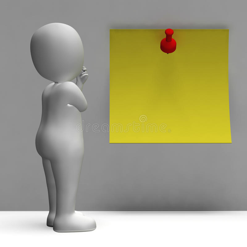 Download Character And Blank Post It Note For Message Stock Illustration - Image: 34212674