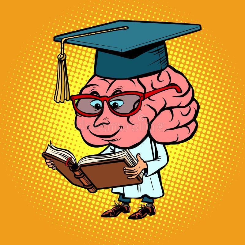 Character brain University Professor. Comic book cartoon pop art retro illustration royalty free illustration