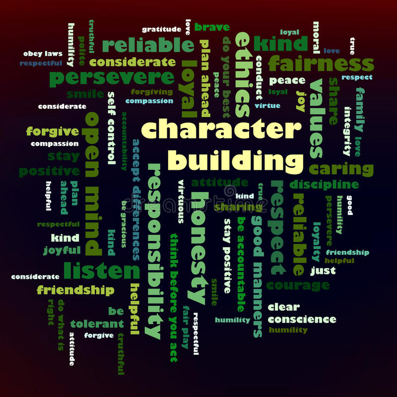 Character Building word cloud. Ethics, values, character - A word cloud or tag cloud - group of key words which revolve around the theme Character Building royalty free illustration