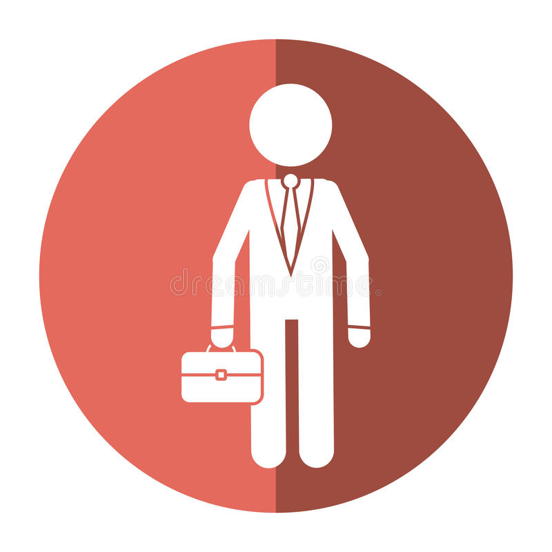 Character business man with suit portfolio shadow stock illustration