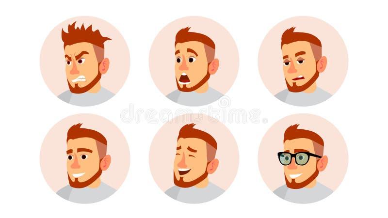 Character Business People Avatar Vector. Man Face, Emotions Set. Creative Default Avatar Placeholder. Cartoon, Comic Art royalty free illustration