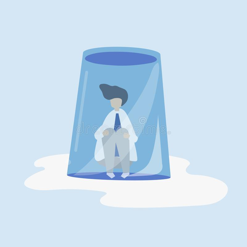 Character of a businessman feeling small and trapped illustration royalty free illustration
