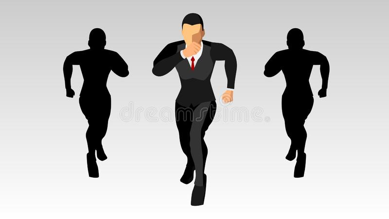The character of the businessman running forward, along with the silhouette. blank background template. eps10 stock illustration