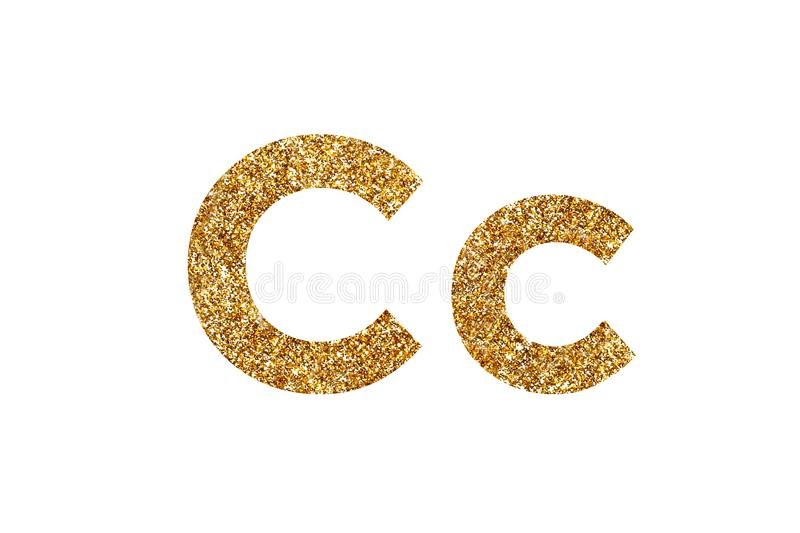 Character C.  English alphabet. Isolated on white background. Character C. Letters and Numbers from golden grains of sand. English alphabet. Isolated on white stock photography