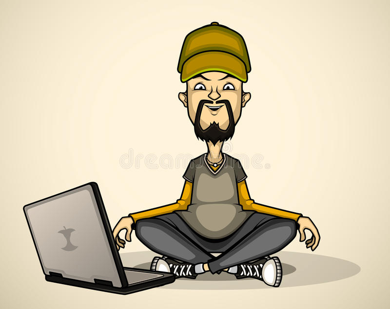 User in gray shirt and cap with a laptop vector illustration