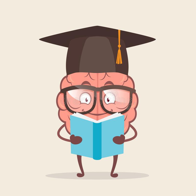 Free Character Cartoon Brain In Round Glasses Reading A Book. Royalty Free Stock Photos - 161370808