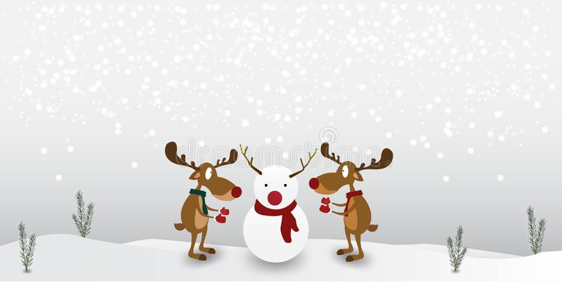 Christmas Character Cartoon reindeer Cute on winter snowman background. Greeting card for Merry Christmas royalty free illustration