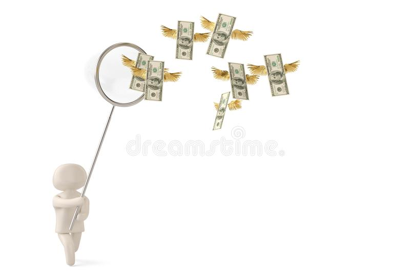 A character catching dollars with a net.3D illustration. royalty free illustration