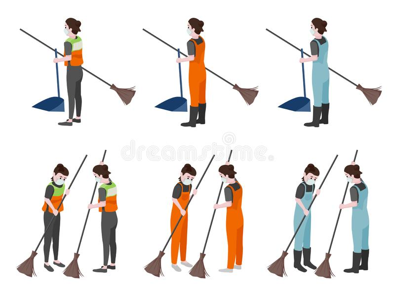 Character collection cleaning women. Character collection cleaning women, cartooning, vector illustration and flat design vector illustration
