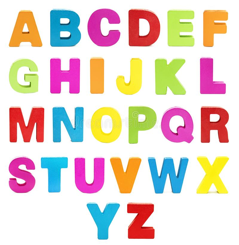 Character. Colorful alphabet isolated on white. Capital letter. Symbol, character . Colorful alphabet isolated on white background. Capital letter stock image