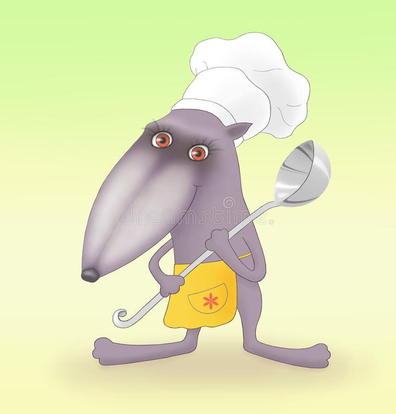 Character cook, drawn in graphics programs stock photo