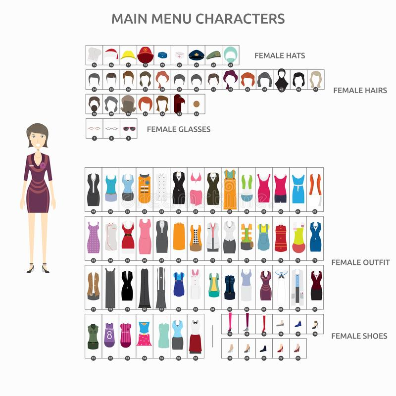 Character Creation Reservation lady stock illustration