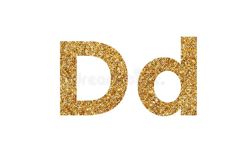 Character D. English alphabet. Isolated on white background. Character D. Letters and Numbers from golden grains of sand. English alphabet. Isolated on white stock photo