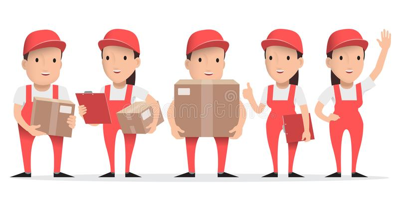 Character delivery man in red uniform with cardboard box. vector illustration