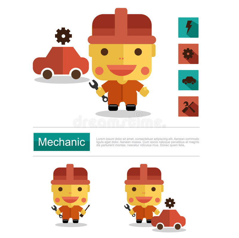 Character Design Career : Character design mechanic career icon vector with white