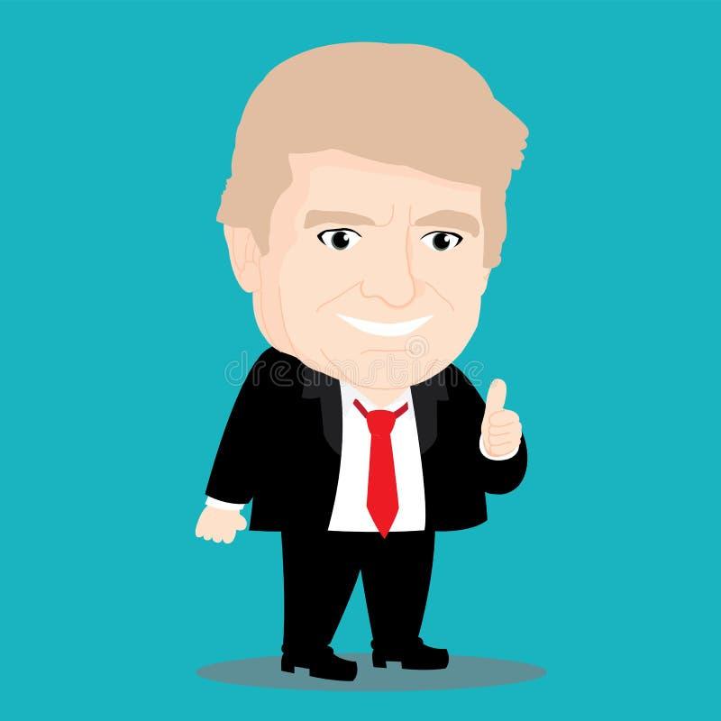 Character of Donald Trump. Cute Cartoon Character of Donald Trump stock illustration