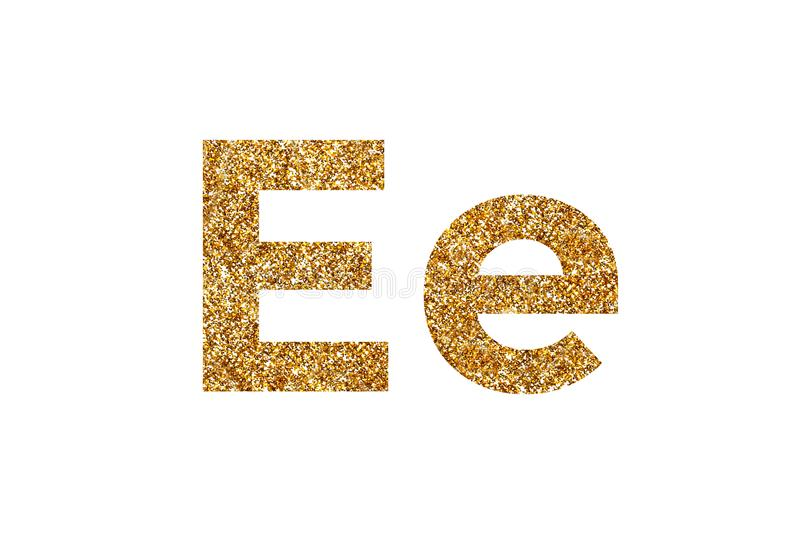 Character E.  English alphabet. Isolated on white background. Character E. Letters and Numbers from golden grains of sand. English alphabet. Isolated on white stock photo